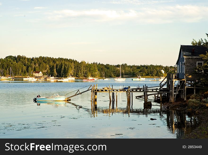 Fishing shack and pier