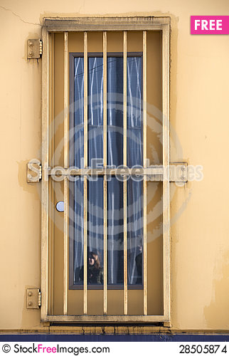 Free Door Covered With Yellow Bars Stock Images - 28505874