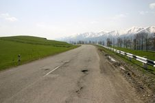 Mountain Road In Armenia With Snow Capped Peaks Stock Image