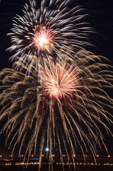 Beautiful Fireworks In The Sky. Stock Photo