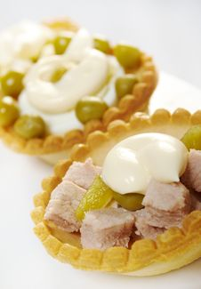 Tartlet With Salad On A White Plate Stock Image