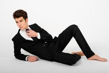 Free Young Businessman Barefoot, Isolated On White Background Royalty Free Stock Images - 28512499