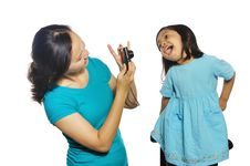 Free Mother And Daughter Taking Own Photograph Royalty Free Stock Images - 28513989