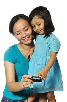 Free Mother And Daughter Taking Own Photograph Stock Image - 28514021