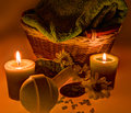Free Spa Treatment: Sea Salt, Candles, Flowers And Towel Stock Photo - 28520190
