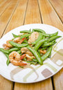 Free Thai-food Fried Shrimp, Pork And Sweet Peas. Stock Photos - 28527903