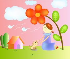 Free Illustration Of A Girl In The Garden. Stock Photography - 28522972
