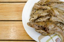 Fried Fish On Dish Royalty Free Stock Images