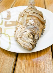 Fried Fish On White Dish Stock Photography
