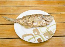 Free Fried Fish On  Wood Background Stock Photo - 28527880