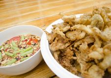 Free Fried Mushroom With Spicy Sauce Royalty Free Stock Photos - 28527938