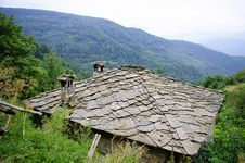Roof Of House In The Village Cheresha In The Rhodope Mountain, Bulgaria Royalty Free Stock Image