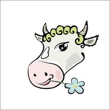 Free Colorful Picture With A Cow Royalty Free Stock Photo - 28538945