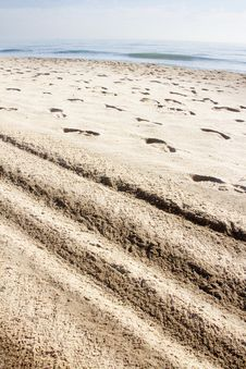 Free Imprint Of The Shoe On Sand And Lines Royalty Free Stock Image - 28539316