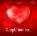 Free Floral Heart On Red & Text Royalty Free Stock Image - 28542006
