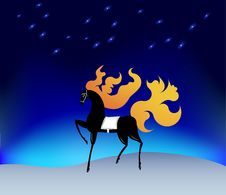 Free Horse With A Fiery Mane Under The Stars Royalty Free Stock Photos - 28544588