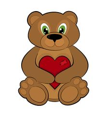 Free Teddy Bear Holding Red Heart Stock Photo - 28544650