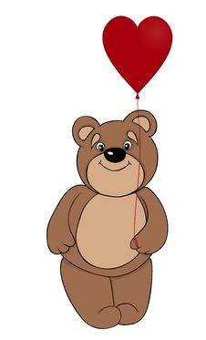 Free Brown Teddy Bear Holding A Balloon In The Form Of Red Heart Royalty Free Stock Photos - 28544658