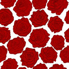 Free Seamless Pattern Red Roses On A White Background Stock Photography - 28544752