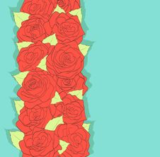 Background Retro Style. Using The Old Colors. Red Roses And Green Leaves. Antiquity Stock Photo