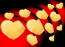 Free Golden Heart With Red Roll Royalty Free Stock Photo - 28548405