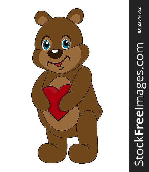 Cute teddy bear holding heart in paws. Postcard to the Valentine s Day