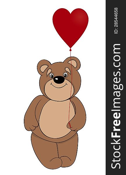 Brown teddy bear holding a balloon in the form of red heart