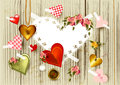 Free Valentine&x27;s Day Background With  Hearts From Gold, Lace An Stock Photo - 28550480