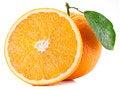 Free Orange With Leaf. Stock Photography - 28556712