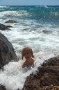 Free Senior Woman Swimming In Sea Royalty Free Stock Image - 28558336