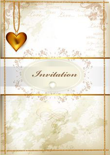 Free Elegant Wedding Invitation Or Valentine S Day Card In Vintage St Stock Photo - 28550280