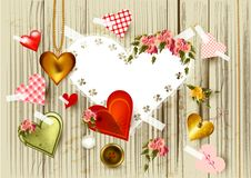 Valentine S Day Background With  Hearts From Gold, Lace An Stock Photo
