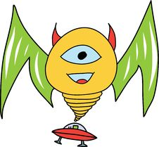 Free Smiling Monster With UFO Stock Photography - 28552862