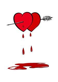 Hearts Pierced With An Arrow Stock Photos