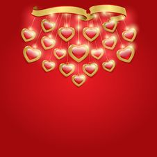 Free Red Background With Hearts. Stock Image - 28558381