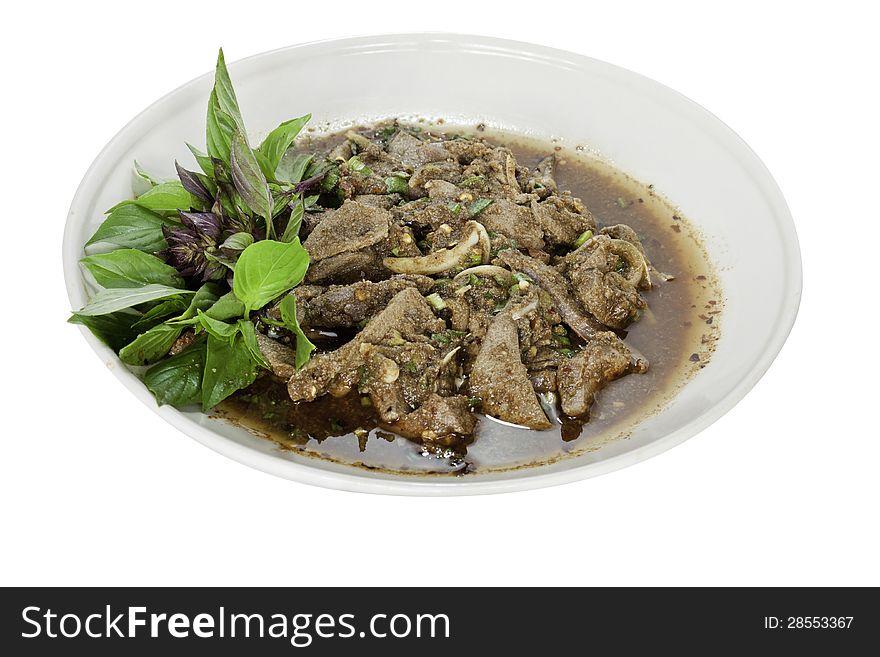 Spicy liver salad