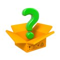 Free Cartoon Box With Question Mark. Isolated On White. Royalty Free Stock Photos - 28564938