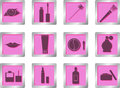 Free Makeup Icons On Square Buttons Royalty Free Stock Photography - 28565577