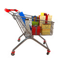 Free Metal Cart With Gifts Royalty Free Stock Photography - 28566717