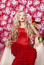 Free Beautiful Fashion Girl With Red Makeup And Roses. Royalty Free Stock Images - 28567239