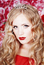 Free Beautiful Fashion Girl With Red Makeup And Roses. Royalty Free Stock Photo - 28567355