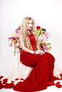 Free Beautiful Fashion Girl With Red Makeup And Roses. Royalty Free Stock Images - 28567539