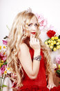 Free Beautiful Fashion Girl With Red Makeup And Roses. Royalty Free Stock Photo - 28567585