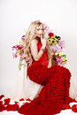 Free Beautiful Fashion Girl With Red Makeup And Roses. Royalty Free Stock Photos - 28567608
