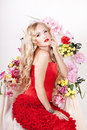 Free Beautiful Fashion Girl With Red Makeup And Roses. Royalty Free Stock Photos - 28567688
