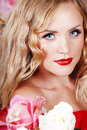 Free Beautiful Fashion Girl With Red Makeup And Roses. Royalty Free Stock Image - 28567826