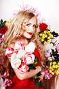 Free Beautiful Fashion Girl With Red Makeup And Roses. Royalty Free Stock Photos - 28567868