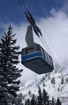View To The Mountains And Blue Ski Tram At Snowbird Ski Resort In Utah Stock Photos