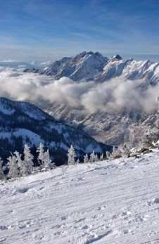 Spectacular View To The Mountains From Snowbird Ski Resort In Utah Stock Images