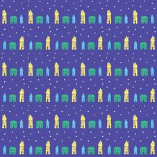 Free Village Or Small Town At Night, Seamless Pattern Stock Photography - 28561102